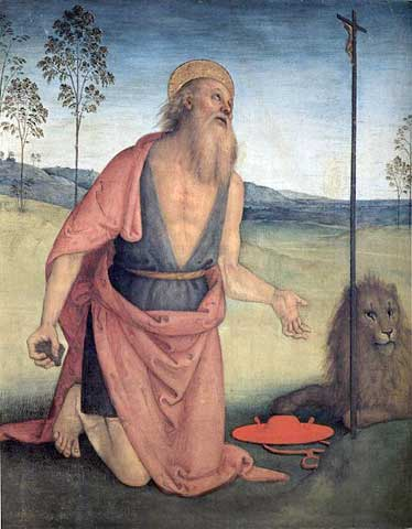 """Ovnis et """"extraterrestres"""" dans l'art antique (peintures, gravures et statuettes) SanGerolamo_Perugino"""